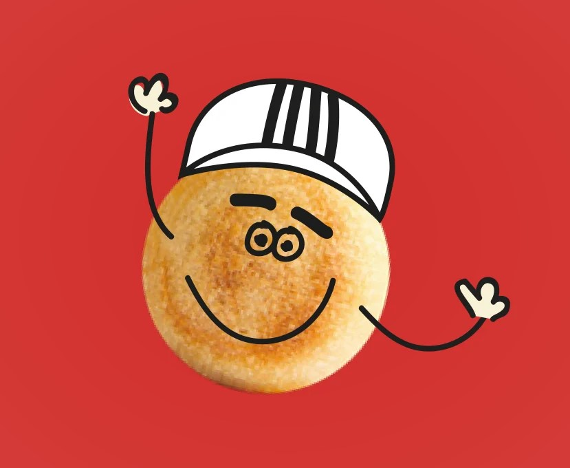 Drawn doughball with hands wearing a hat