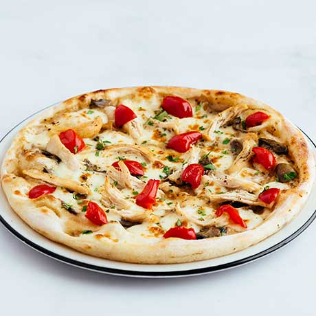 Pollo con Salsa ai Funghi pizza from Pizza Express Cyprus