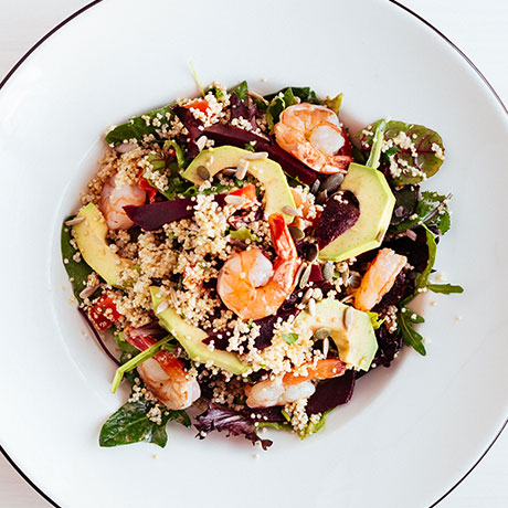 Quinoa salad with Gamberitini from Pizza Express Cyprus