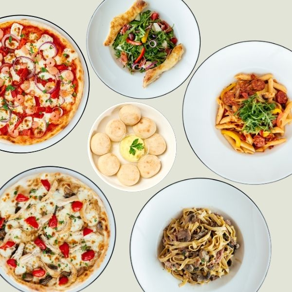 Two pizzas, two pastas, a salad and dough balls from Pizza Express Cyprus