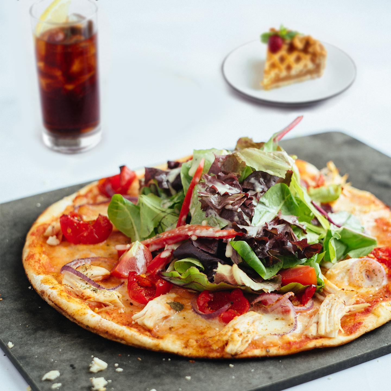 Leggera pizza with a pizza and dessert