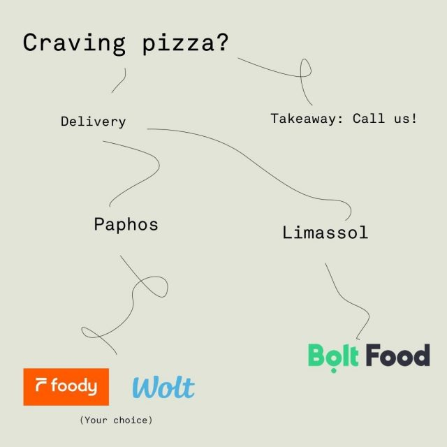 New year, same pizza preferences 🍕 Paphos: Delivery 12:00-22:00, Takeaway 12:00-21:00. Limassol: Delivery 12:00-22:30, Takeaway 12:00-21:00.