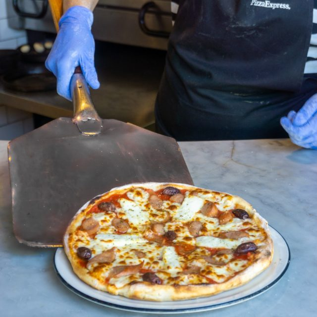 The Cipriota Classic, hot and fresh out the oven. Complete with juicy halloumi, sausage and black olives. Get 2 of these or any classic for €15 every Tuesday (and Thursday too if you're in Paphos).  #PizzaExpressCyprus #Offer #PizzaTwosdays